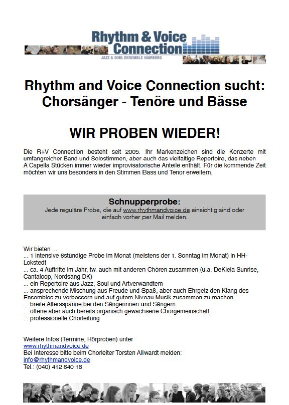 Rhythm & Voice Connection sucht Tenöre und Bässe